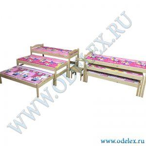 М-344 Кровать детская 3-х секц. выкатная (массив)